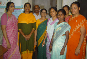 Priya (second from left) and her team at Cheyutha